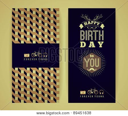 Happy Birthday Congratulations, Vintage Retro Background With Geometric Pattern.