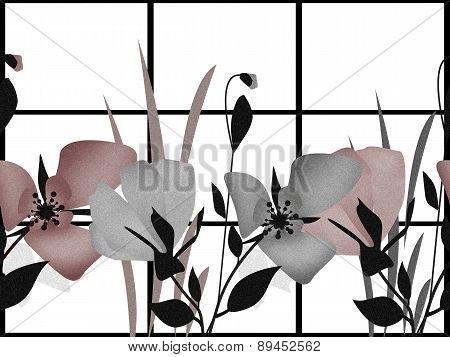Elegant Floral Horisontal Seamless Pattern Texture Background