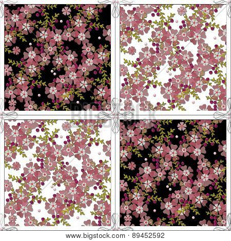 Floral Pattern With Flowers Tile Background