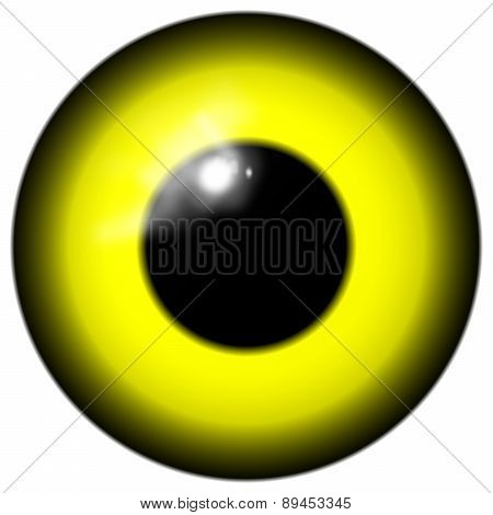 Yellow Bird Or Alien Eye Isolated On The White Background