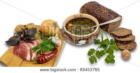 Bowl Of Soup And Ingredients For Cooking