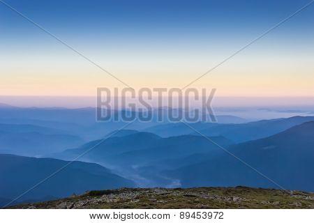 Carpathian Mountains At Dawn.