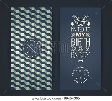 Happy Birthday Invitation, Vintage Retro Background With Geometric Pattern.