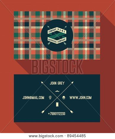 Business Card Template, Vintage Retro Background With Geometric Pattern.