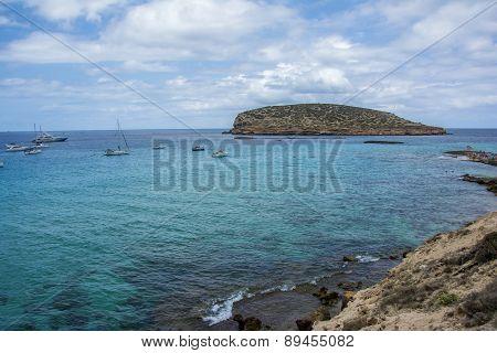 Blue Mediterranean Water In Ibiza Island