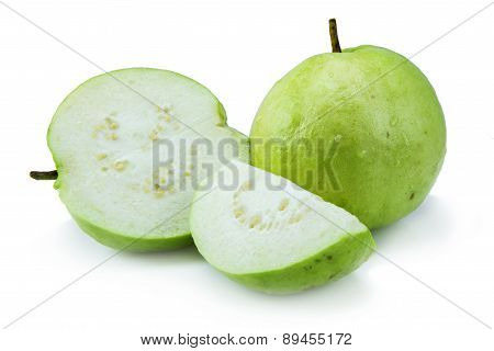 Stack of Guava (tropical fruit) on white background
