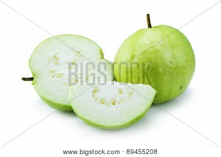 Sliced Guava (tropical fruit) on white background