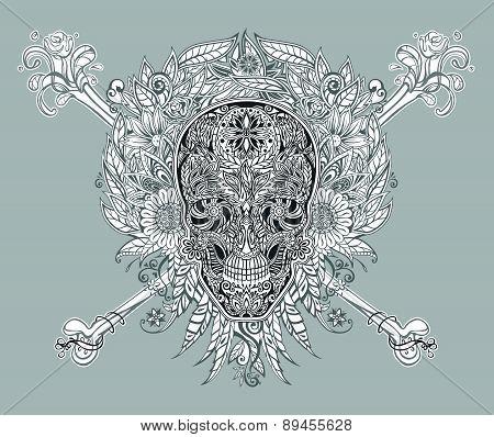 Human Skull Made Of Flowers
