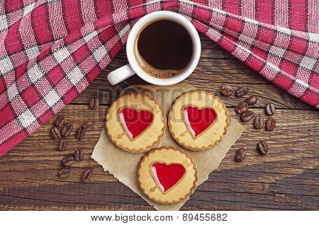 Coffee Cup And Cookies With Strawberry Jam