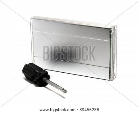 Screwdriver And An External Hard Drive