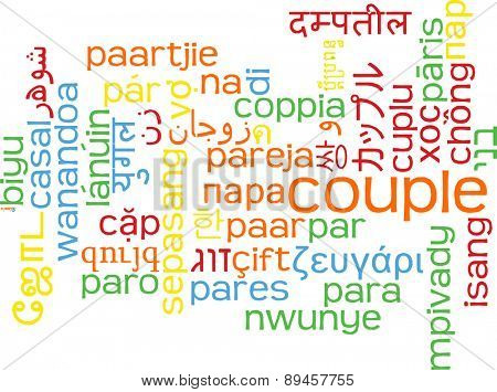 Background concept wordcloud multilanguage international many language illustration of couple