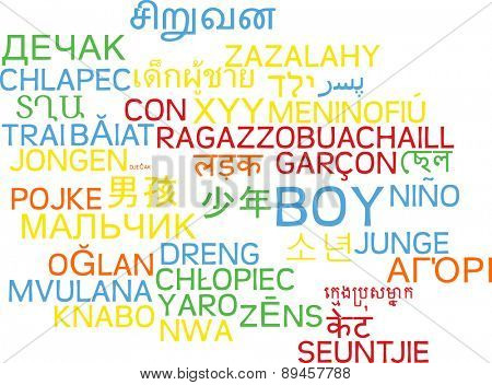 Background concept wordcloud multilanguage international many language illustration of boy