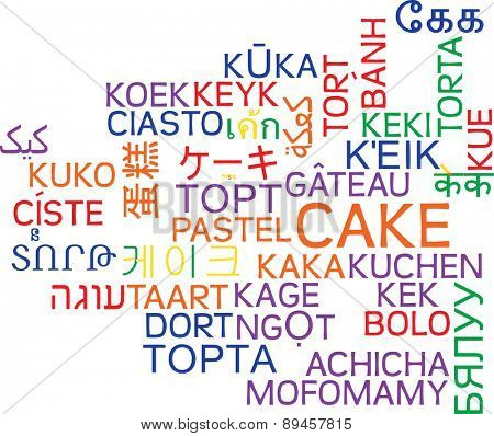 Background concept wordcloud multilanguage international many language illustration of cake