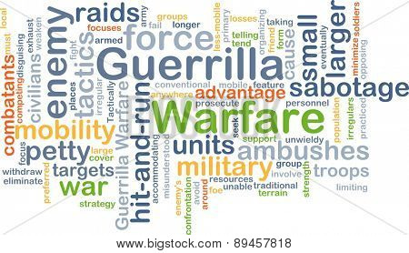 Background concept wordcloud illustration of guerrilla warfare
