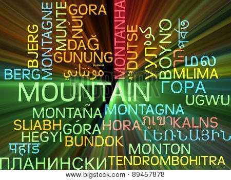 Background concept wordcloud multilanguage international many language illustration of mountain glowing light