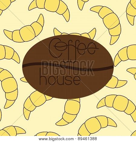 Pattern With Croissants And Coffee House Logo