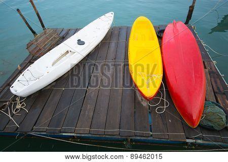 Kayaks On The Wooden Raft