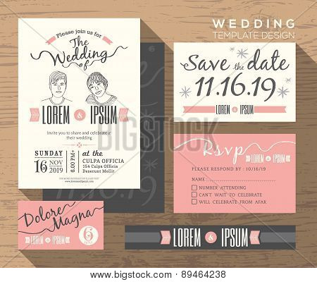 Modern Wedding Invitation Set Design Template