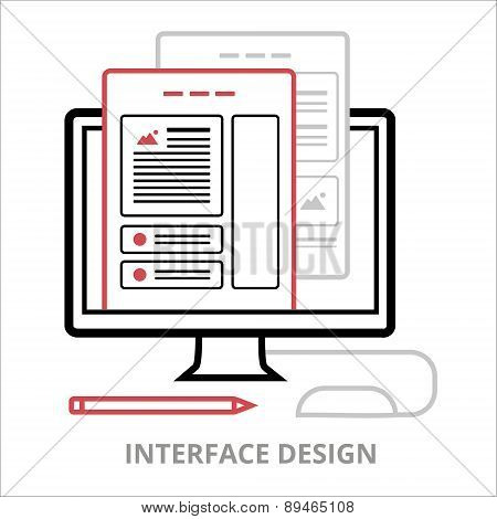 Business icons. Interface design. Flat vector illustration. Outlined IT icon for web site.