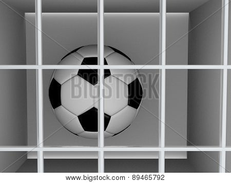 Football Or Soccer Ball Behind The Bars