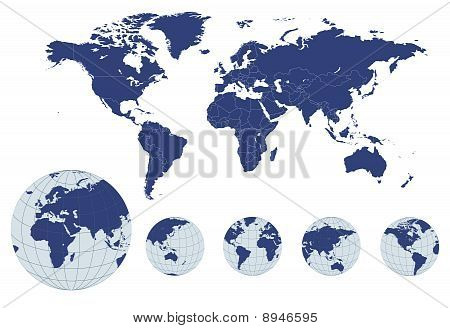 World Map With Earth Globes