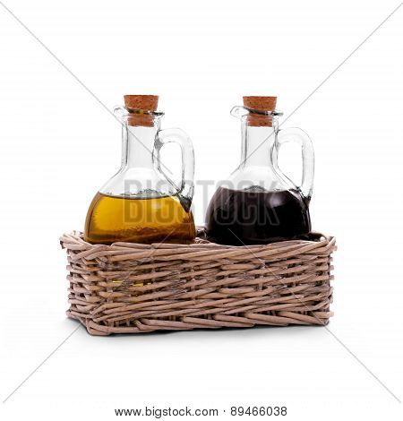 Basket With Olive Oil, Italian Balsamic Vinegar Of Modena