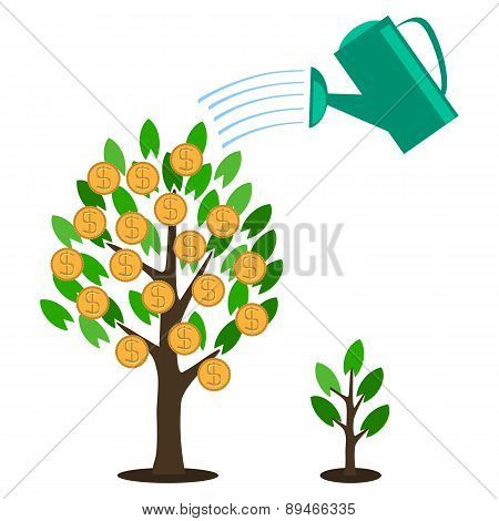 Vector Money Tree Concept In Flat Style - Green Plant With Coins On The Branches - Investment Concep