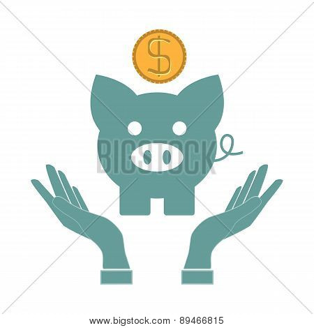 Money Concept Design , Hands, Vector Illustration