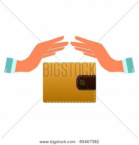 Wallet And Hand Web Icon. Vector Design