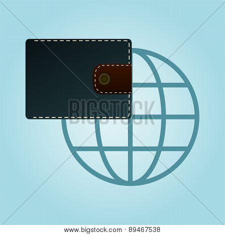 Wallet And Globe Icon. Purse Icon. Flat Design Style. Made Vector Illustration