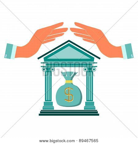 Bank Icon With The Building Facade With Two Pillars And Dollar In Hand. Hand Over The Building Of Th