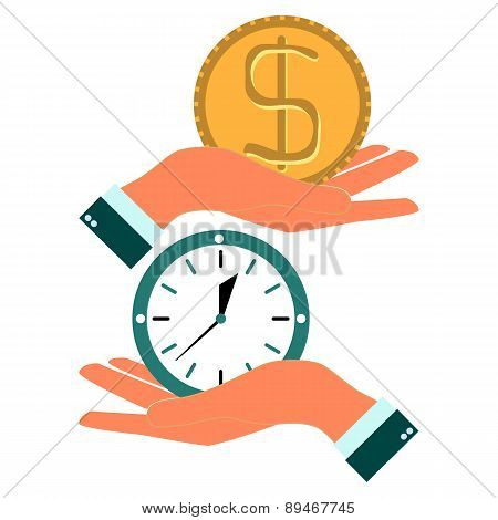 Business Man Hand Exchanging Time And Money To Each Other. Abstract Background. Vector Illustration.