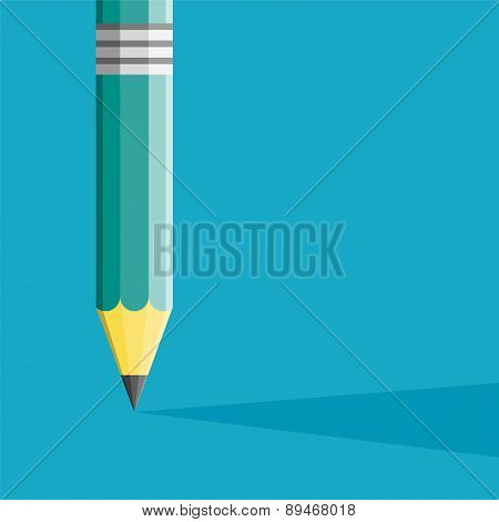 Pencil Illustration Flat Style. Creative Start. Can Be Used For Presentation, Web Page, Booklet