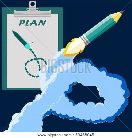 Space Rocket Pancil Launch. Start Up Concept Flat Style. Vector Illustration. Can Be Used For Presen