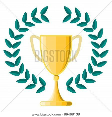 Gold Metal Trophy Cup Or Award For The Winner Of A Championship, Challenge Or Competition With A Lau