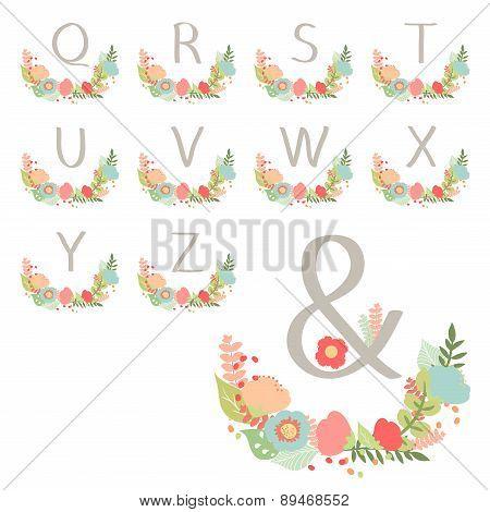 Hand Drawn Monogram Wreath Table Card Q To Z.