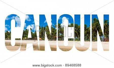 Cancun text on white background