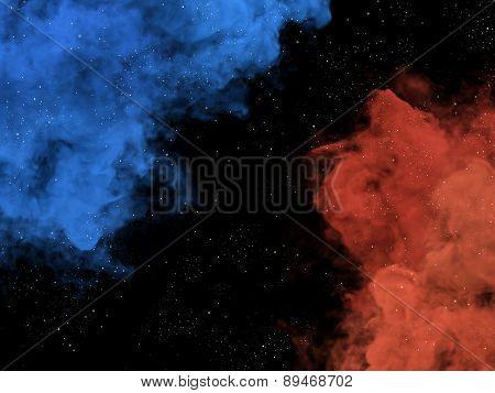Blue And Orange Nebulas And Stars In Galaxy