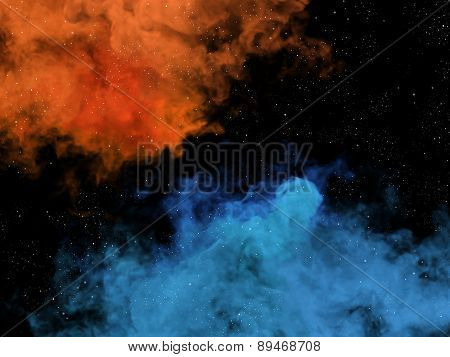 Blue And Orange Nebulas And Stars In Space