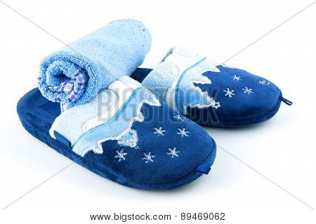 Blue Soft Slippers With Towel