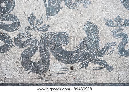 Mosaic Detail Of Antique Roman Thermal Pool