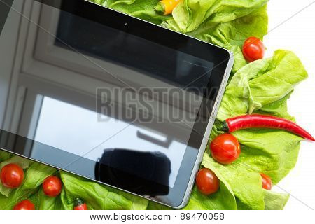Vegetables And A Tablet Pc