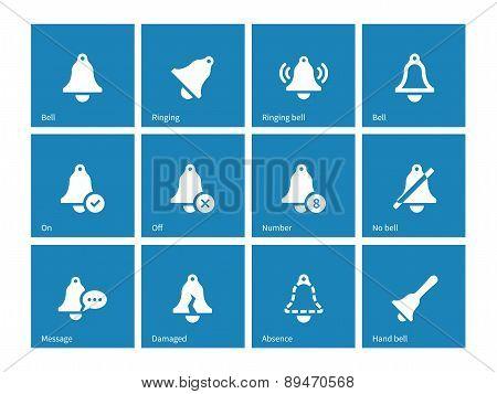 Ringing icons on blue background.