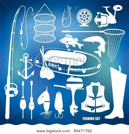 Vector set of fishing tools.