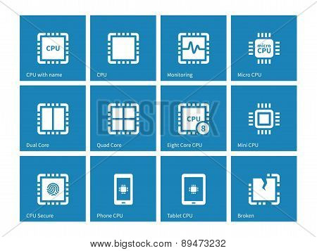 Electronic chip icons on blue background.