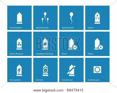 Condom pack icons on blue background.