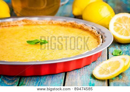 Lemon Tart In Baking Dish
