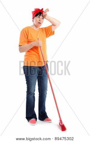 Tired Middle-aged Woman With Dotted Broom