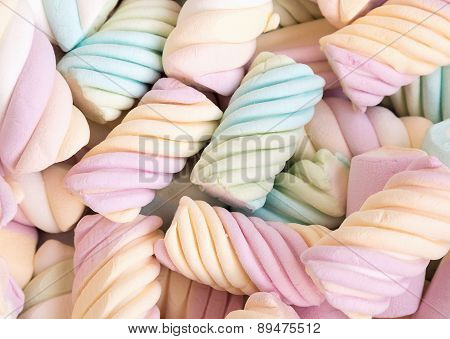 A Delicious Multicolored Marshmallows Background. Shallow Depth Of Field