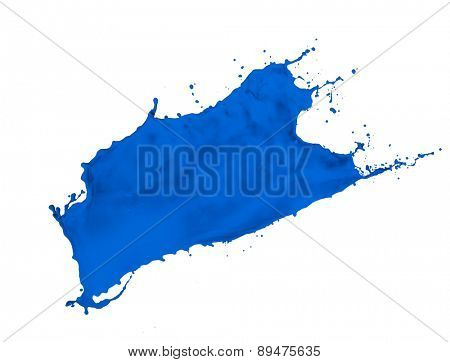 blue paint splash isolated on white background